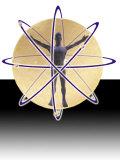 Male Figure in Atom with Electrons Fotografisk trykk av Ellen Kamp