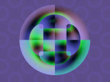 Abstract Green and Blue Fractal Pattern on Purple Background Photographic Print by Albert Klein