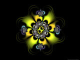 Abstract Yellow Flower-Like Fractal Design on Dark Background Photographic Print by Albert Klein