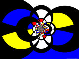 Abstract Blue, Red, Black and Yellow Fractal Design Photographic Print by Albert Klein