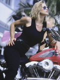 Blonde in Black Jeans with Motorcycle Lámina fotográfica