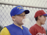 Two Boys on a Baseball Team Blowing Bubble Gum Photographic Print