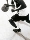 High Angle View of Two Mid Adult Men Playing Basketball Lámina fotográfica
