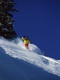 Snowboarder in Yellow and Red Photographic Print