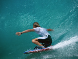 Rear View of Man Surfing Fotografisk trykk
