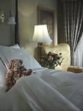 A Teddy Bear on the Bed Lámina fotográfica