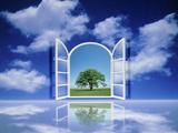 A Tree Seen Through an Open Window in the Sky Lámina fotográfica