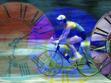 Man Cycling with Clocks Superimposed Reproduction photographique
