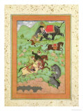 Rajput Princes Hunting Bears, Mahout and Elephant Rescue Fallen Horseman from Tiger Giclée-tryk