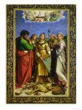 St. Cecilia Surrounded by St. Paul, St. John the Evangelist, St. Augustine and Mary Magdalene Reproduction procédé giclée par  Raphael