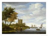 River Estuary with a Castle Giclee Print by Salomon van Ruisdael or Ruysdael