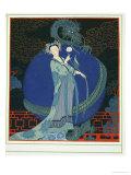 Lady with a Dragon Reproduction procédé giclée par Georges Barbier