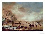Frozen Canal Scene Giclee Print by Aert van der Neer