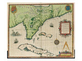 Map of Florida Giclee Print by Jacques Le Moyne