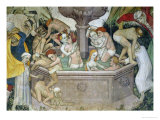 The Fountain of Life, Detail of Bathers in the Fountain, 1418-30 Giclée-tryk af Giacomo Jaquerio