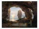 Fisherman in a Grotto, Helgoland, 1850 Giclee Print by Christian Ernst Bernhard Morgenstern