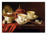 Yixing Teapot and a Chinese Porcelain Tete-A-Tete on a Partly Draped Ledge Giclee Print by Pieter Gerritsz. van Roestraten