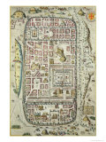 Map of Jerusalem and the Surrounding Area, from Civitates Orbis Terrarum by Georg Braun Giclee Print by Joris Hoefnagel