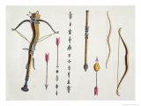 Bows and Arrows from the 14Th-15th Century, Kottenkamp, Published by Carl Hoffmann, 1842 Giclee-trykk av Friedrich Martin Von Reibisch