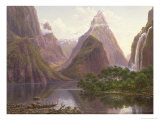 Native Figures, Milford Sound, New Zealand, Also Depicted Are Mitre Peak and Bowens Fall, 1892 Giclée-tryk af Eugene Von Guerard