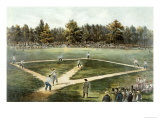 The American National Game of Baseball - Grand Match at Elysian Fields, Hoboken, Nj, 1866 Giclee-trykk av Currier & Ives,