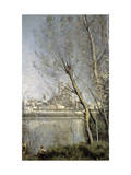 Mantes, View of the Cathedral and Town Through the Trees, c.1865-70 Giclee Print by Jean-Baptiste-Camille Corot