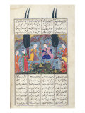 Court Scene in a Garden, Illustration from the Shahnama Giclée-tryk