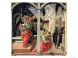 The Annunciation with Three Angels, 1440 Giclée-tryk af Fra Filippo Lippi