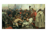 The Zaporozhye Cossacks Writing a Letter to the Turkish Sultan, 1890-91 Giclee Print by Ilya Efimovich Repin