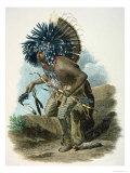 Medicine Man of the Mandan Tribe in the Costume of the Dog Dance, 1834 Stampa giclée di Karl Bodmer