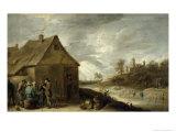 Inn by a River Giclée-Druck von David Teniers the Younger