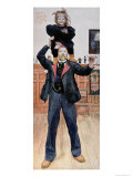Self Portrait of the Artist with His Daughter, Brita, 1899 Giclée-tryk af Carl Larsson