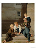 Young Boys Playing Dice in Front of Christiansborg Castle, Copenhagen, 1834 Giclee Print by Constantin Hansen