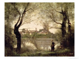 View of the Town and Cathedral of Mantes Through the Trees, Evening Giclee Print by Jean-Baptiste-Camille Corot