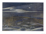 Meadow with Copse, British Artists at the Front, Continuation of the Western Front, Nash, 1918 Giclee Print by Paul Nash