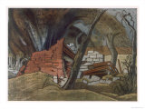 Shell Bursting, British Artists at the Front, Continuation of the Western Front, Nash, 1918 Giclee Print by Paul Nash