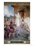 St. Genevieve Calming the Parisians on the Approach of Attila Lámina giclée por Jules Elie Delaunay