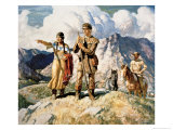 Sacagawea with Lewis and Clark During Their Expedition of 1804-06 Giclée-tryk af Newell Convers Wyeth