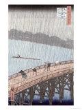 Sudden Shower over Shin-Ohashi Bridge and Atake Giclee Print by Ando Hiroshige