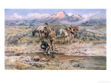 Discovery of Last Chance Gulch Montana Giclée-tryk af Charles Marion Russell