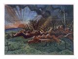 Sunrise, Ruins of a Hospice, Northwest of Wytschaete, Destroyed by Bombardment in 1917 Giclee Print by Paul Nash