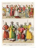 Spanish and Moorish Dress, c.1300, from Trachten Der Voelker, 1864 Giclee Print by Albert Kretschmer