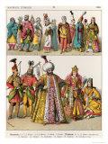 Moorish and Turkish Dress, c.1500, from Trachten Der Voelker, 1864 Giclee Print by Albert Kretschmer