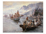 Lewis and Clark on the Lower Columbia River, 1905 Giclée-tryk af Charles Marion Russell
