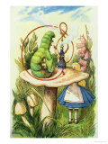 Alice Meets the Caterpillar, Illustration from Alice in Wonderland by Lewis Carroll Giclee-trykk av John Tenniel