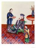 Elegant Chinese Lady Smelling a Flower Gicléedruk