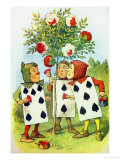 The Playing Cards Painting the Rose Bush, Illustration from Alice in Wonderland by Lewis Carroll Giclee-trykk av John Tenniel
