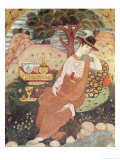 Princess Sitting in a Garden, Safavid Dynasty Giclée-tryk