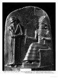 Code of Hammurabi, the God Shamash Dictating Laws to Hammurabi, King of Babylon, Susa, c.1750 BC Lámina giclée por  Mesopotamian