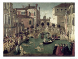 The Miracle of the Cross on San Lorenzo Bridge, 1500 Giclée-tryk af Gentile Bellini